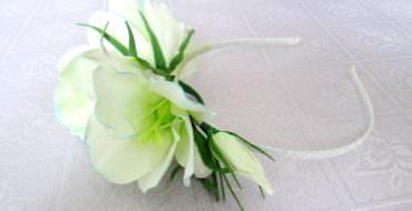Ободок из фоамирана с цветами Эустома, фото