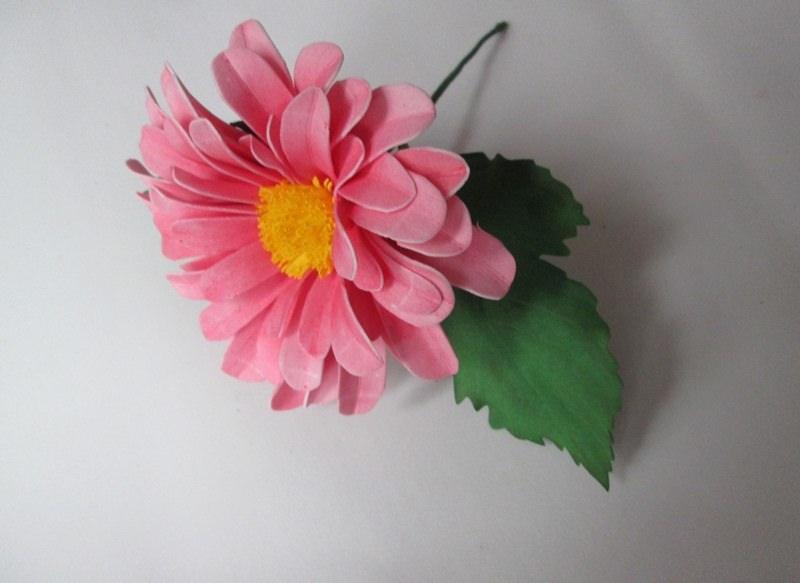 Розовый георгин Пионер из фоамирана, фото