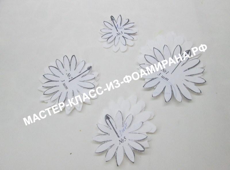 Шаблоны для броши с хризантемой из фоамирана