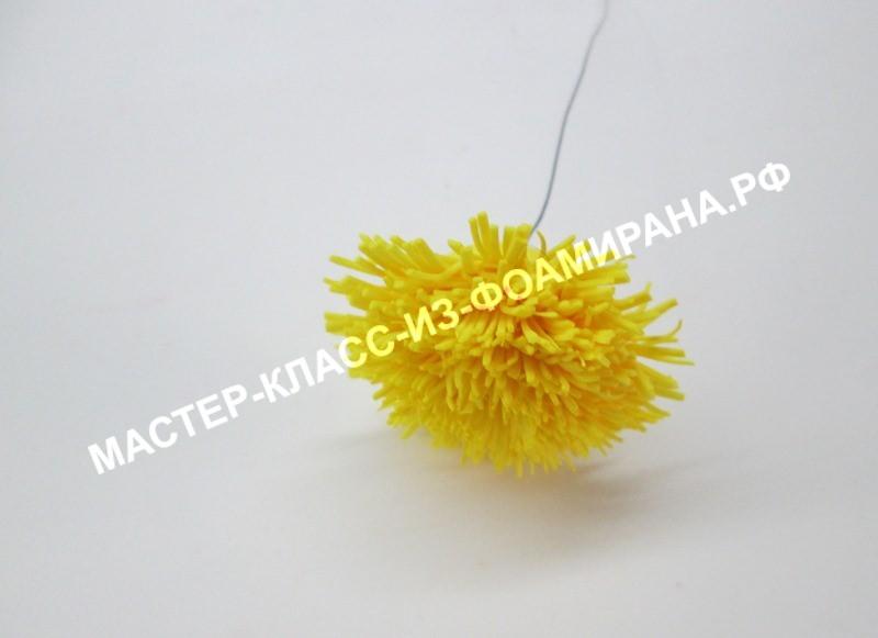 Желтый одуванчик из фоамирана, фото МК
