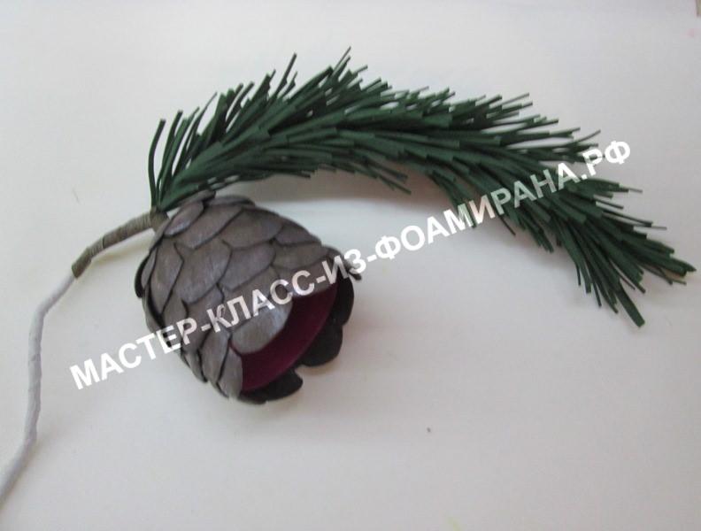 Новогоднее украшение из фоамирана: сосновая ветка с шишкой, мастер-клас с пошаговыми фото