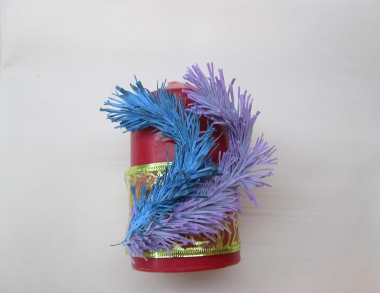 Новогодние поделки из фоамирана: декор свечи, мастер- класс с пошаговым фото.
