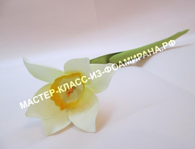 Нарцисс из фоамирана на стебле : пошаговый мастер-класс.