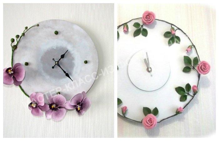 Часы, декорированные цветами из фоамирана