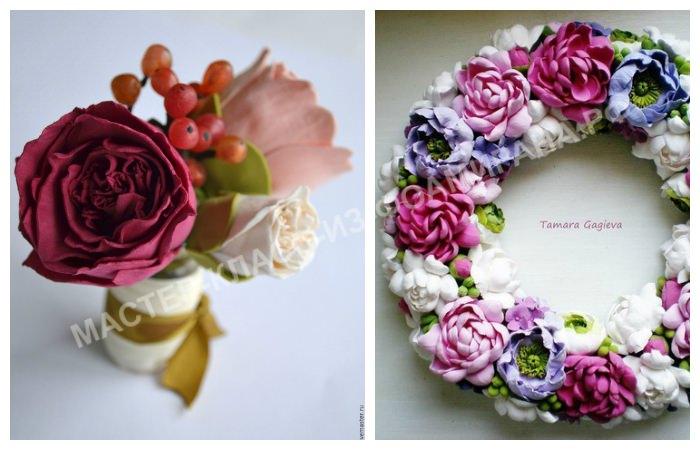 Венки и цветочные композиции из фоамирана