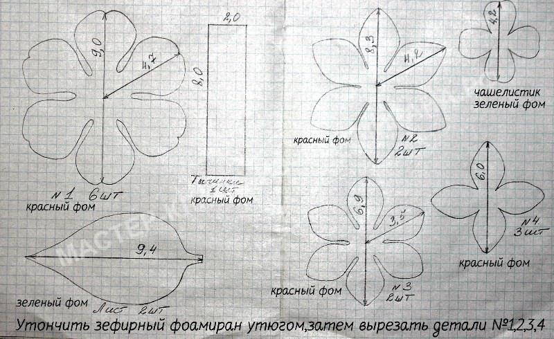 схема выкройки цветка Камелия
