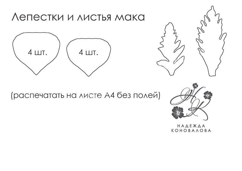 выкройка мака из фоамирана: листья и лепестки