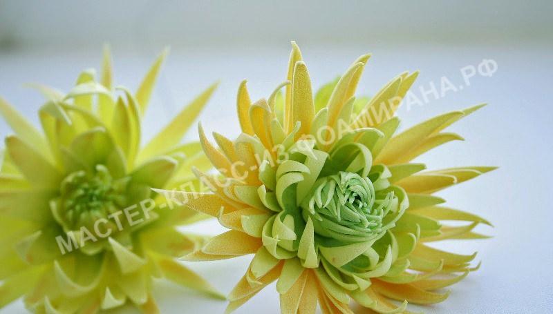 Зеленые цветы из фоамирана