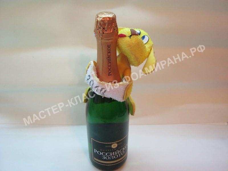 Украшение бутылки шампанского, мастер-класс пошаговое фото.