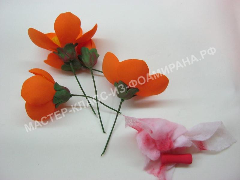 обработка стеблей цветочков и бутонов