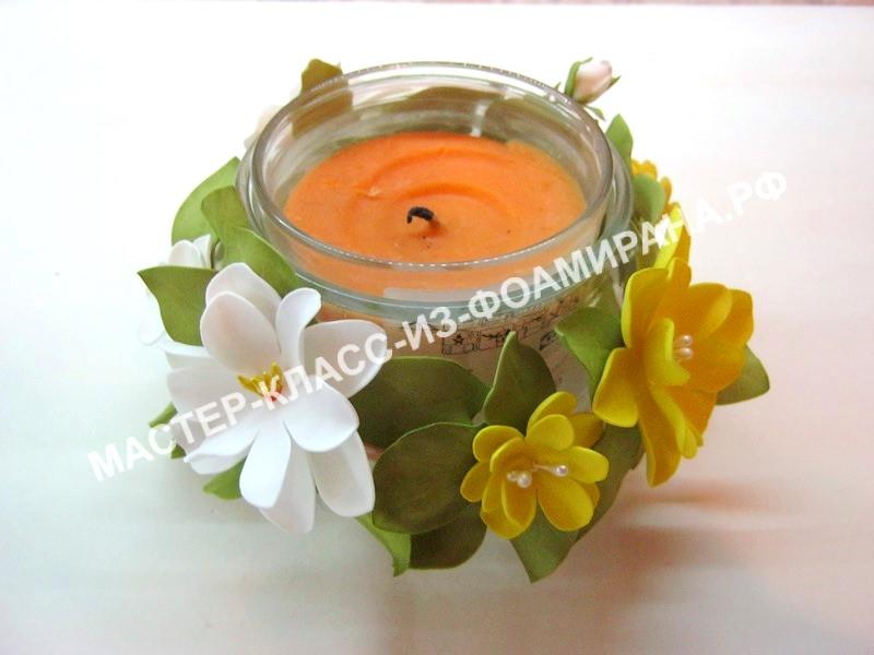 Декор из фоамирана: подсвечник с цветами