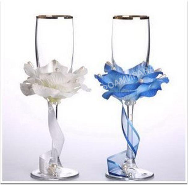 мастер-класс украшение свадебных бокалов пошаговое фото