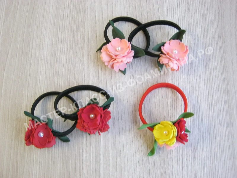 Мастер-класс резиночки со цветочками из фоамирана, пошаговое фото.
