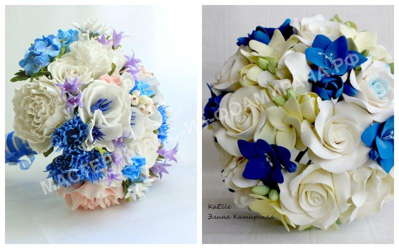 Бело-голубой свадебный букет из фоамирана