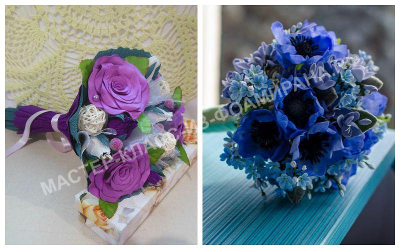 Свадебный букет из фоамирана, оформленный в синей и фиолетовой цветовой гамме