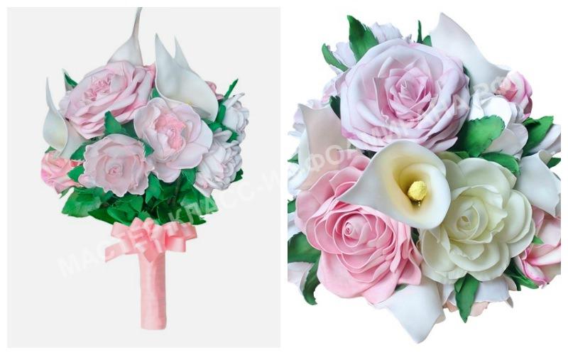 Свадебный букет из роз из фоамирана
