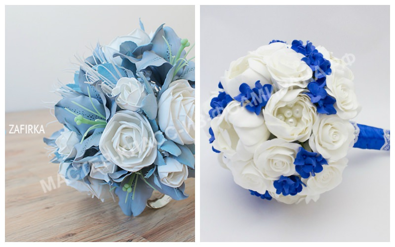 Свадебный букет из фоамирана синий
