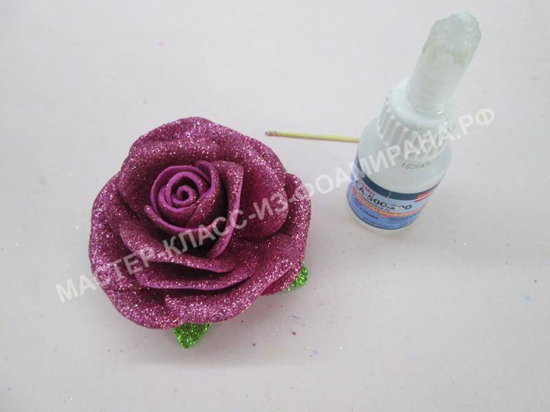 приклеивание листьев к розе