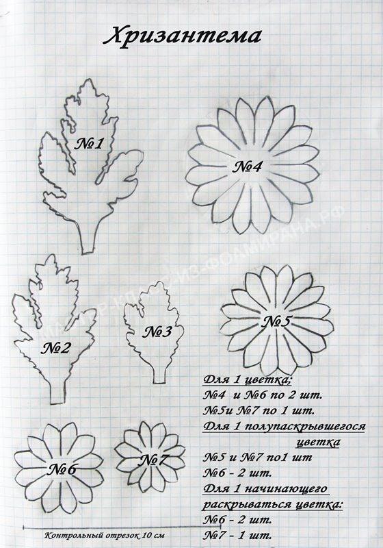 выкройка ветки хризантемы