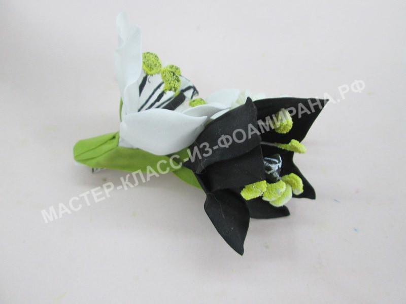 мастер-класс заколка со цветами фоамирана