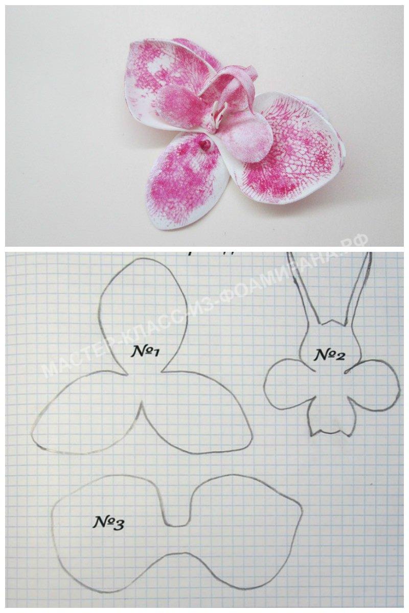 Цветок и выкройка орхидеи фаленопсис