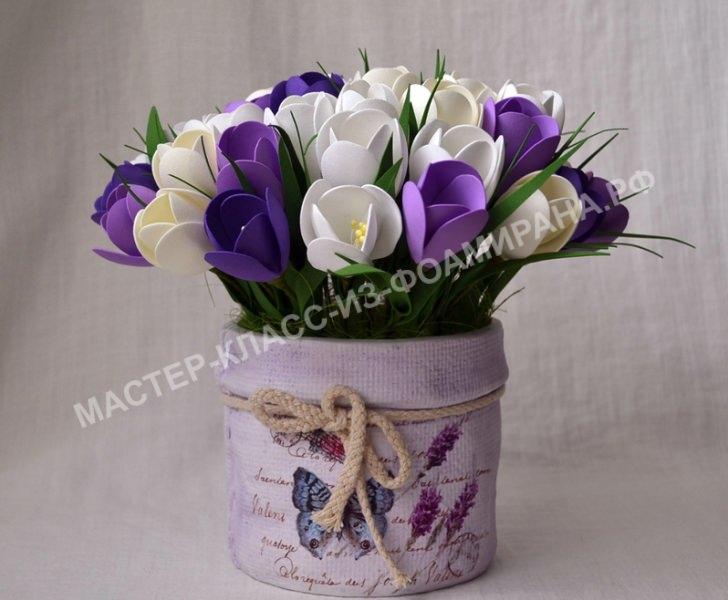 весенние цветы из фоамирана
