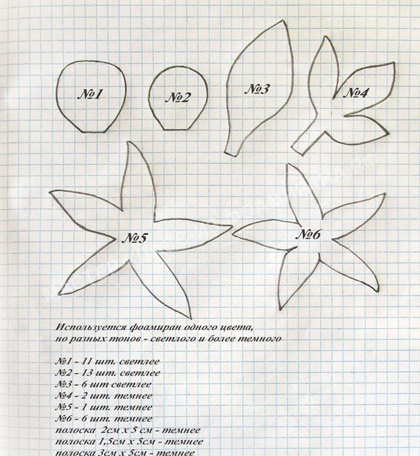выкройка цветка и бутонов для заколки для волос