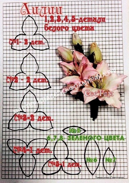 Выкройка ветки лилии
