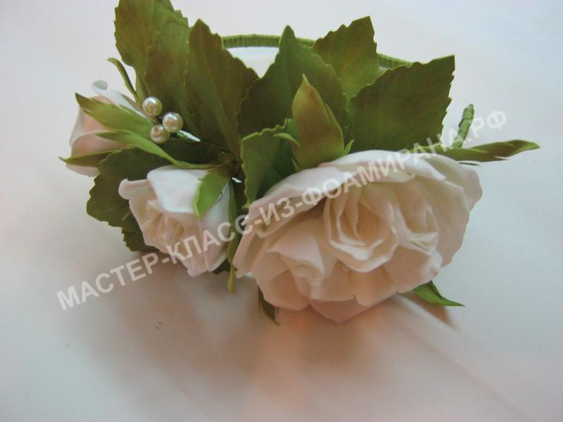 мастер-класс ободок с пионовидными розами, пошаговое фото