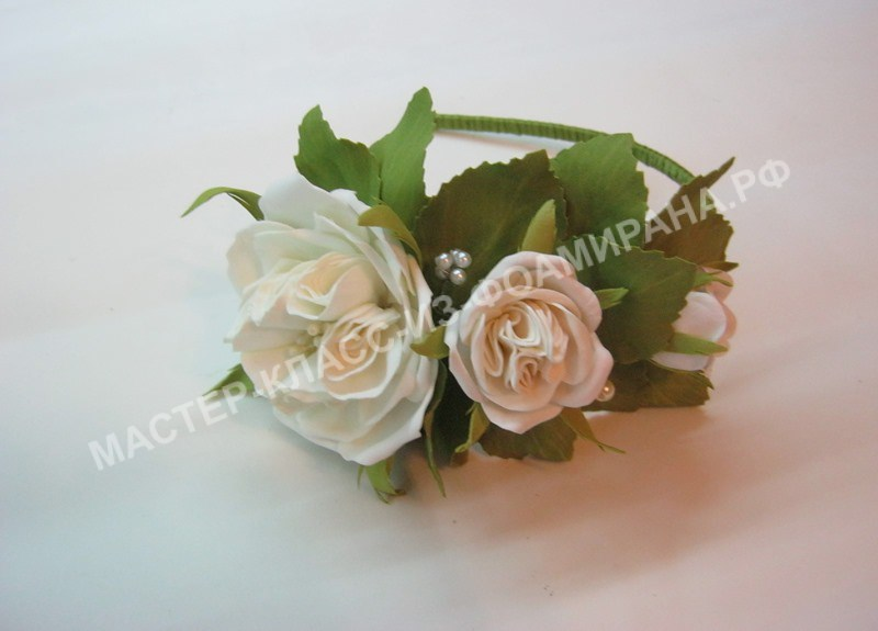мастер-класс ободок с пионовидными розами