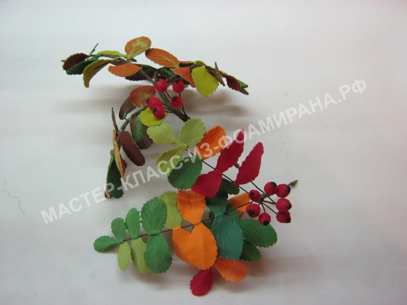 мастер-класс веточка рябины с ягодками из фоамирана