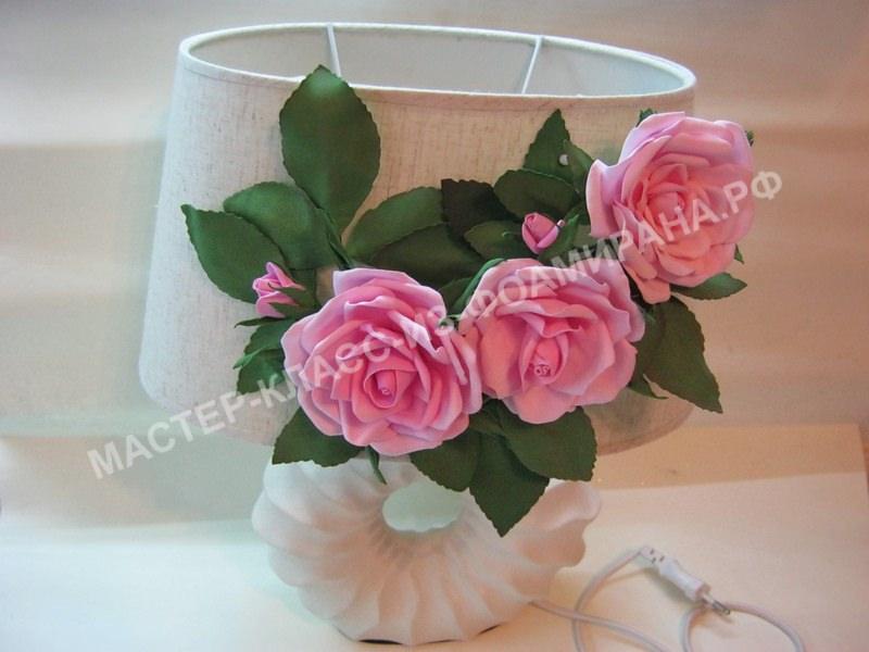 Мастер-класс декор светильника розами из фоамирана,пошаговое фото.