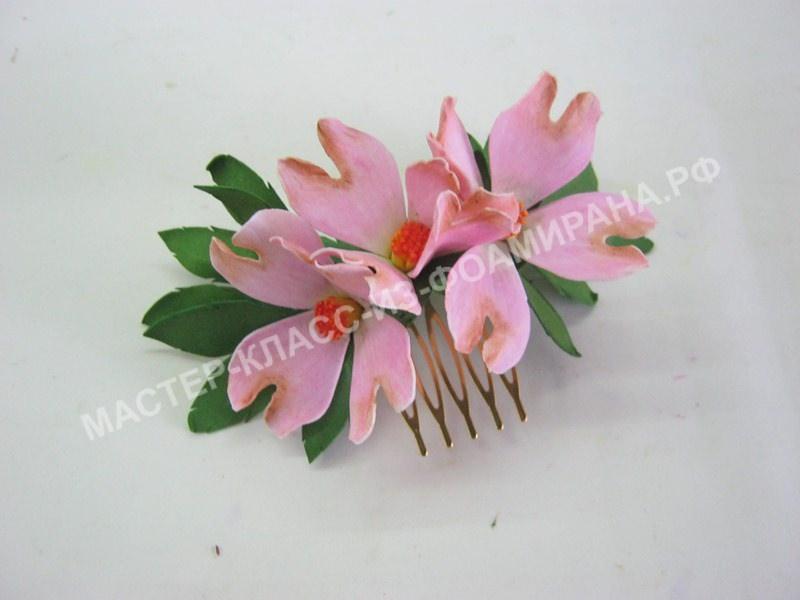 Мастер-класс гребешок со цветами кизила,пошаговое фото