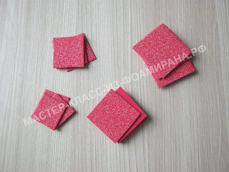 заготовки квадратиков для лепестков