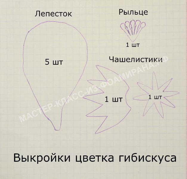 выкройка цветка гибискуса.