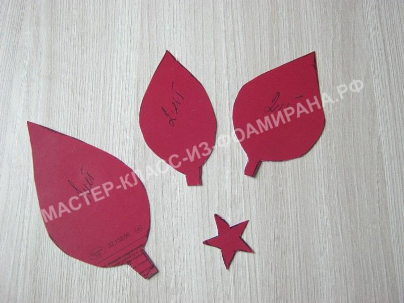 выкройка листочков и чашелистиков для ягодок