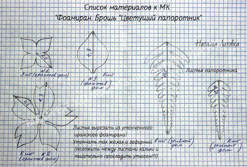 выкройка цветка папоротника